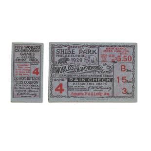 "1929 World Series Game (4) ticket stub - The ""Mack"