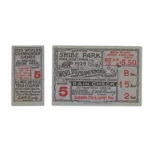 1929 World Series Game (5) ticket stub - Series
