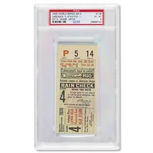 1930 World Series Game (4) ticket stub - Highest graded