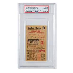 1943 World Series Game (3) ticket stub