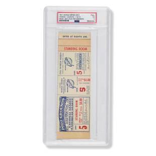 1951 World Series Game (5) proof ticket (PSA EX 5)