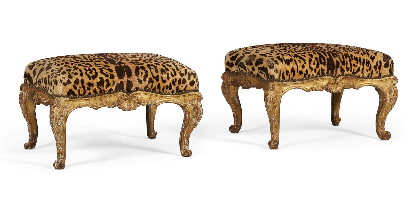 A PAIR OF NORTH ITALIAN GILTWOOD TABOURETS