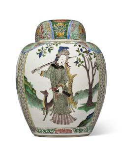 A CHINESE EXPORT FAMILLE VERTE JAR AND COVER