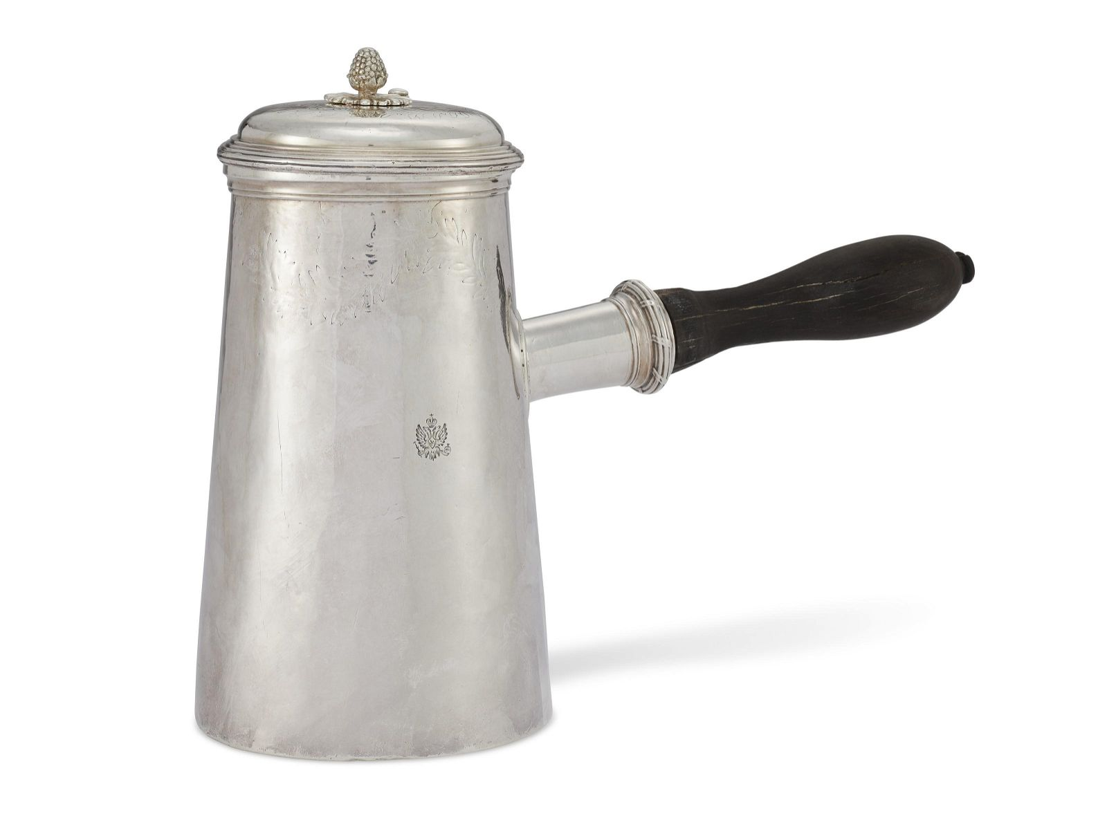 A LOUIS XV SILVER CHOCOLATE POT FROM THE ORLOFF SERVICE