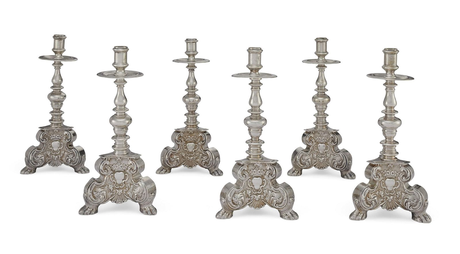 A SUITE SIX SPANISH SILVER CANDLESTICKS