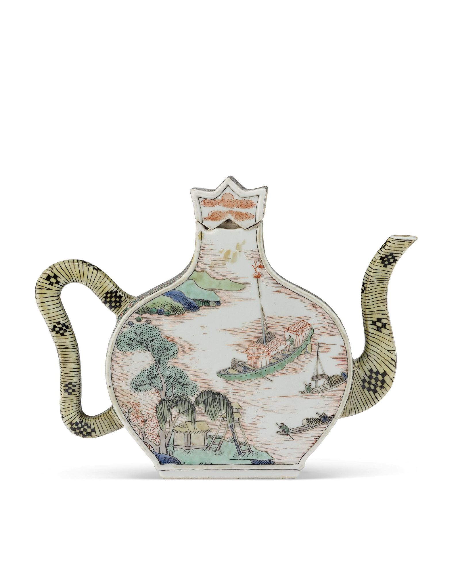 A CHINESE FAMILLE VERTE WINE POT AND COVER