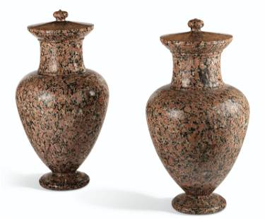 A PAIR OF NORTH EUROPEAN GRANITO ROSSO COVERED URNS