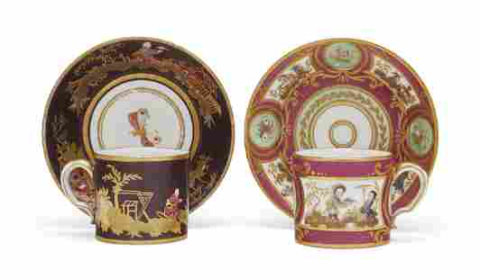 TWO SEVRES (HARD PASTE) PORCELAIN CHINOISERIE CUPS AND