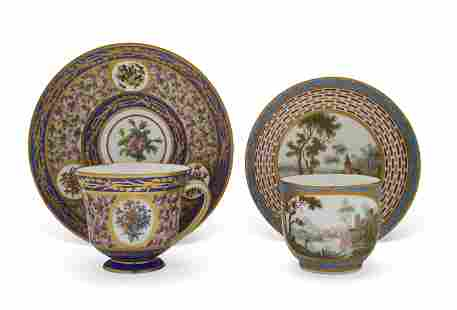 TWO SEVRES PORCELAIN CUPS AND SAUCERS