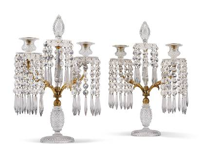 A PAIR OF REGENCY ORMOLU AND CUT-GLASS CANDELABRA