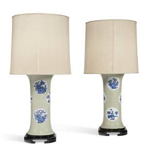 A PAIR OF CHINESE INCISED CELADON-GROUND AND BLUE AND