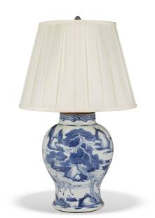 A CHINESE BLUE AND WHITE BALUSTER JAR, MOUNTED AS LAMP