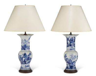 TWO CHINESE EXPORT BLUE AND WHITE PHOENIX TAIL VASES,
