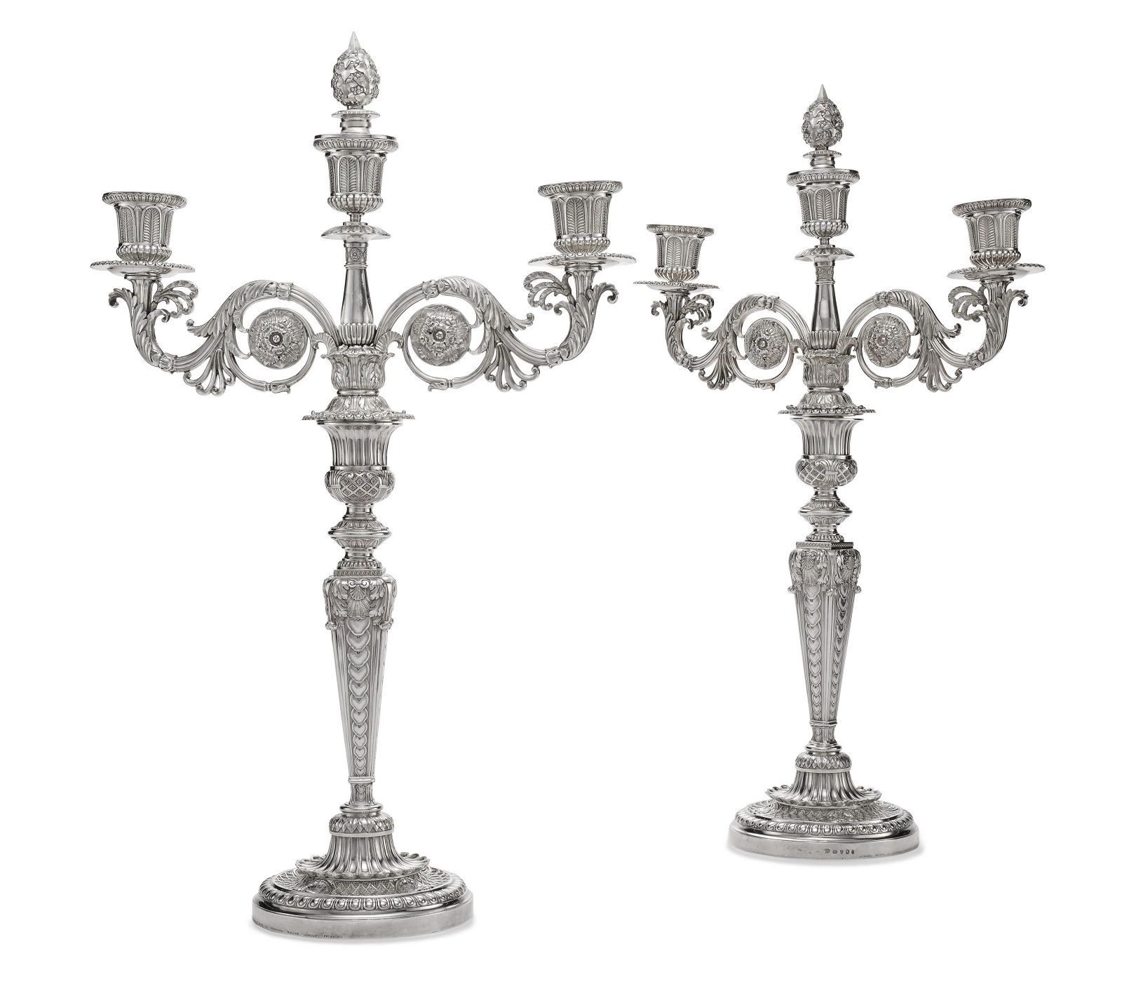 A PAIR OF GEORGE III SILVER TWO/THREE-LIGHT CANDELABRA
