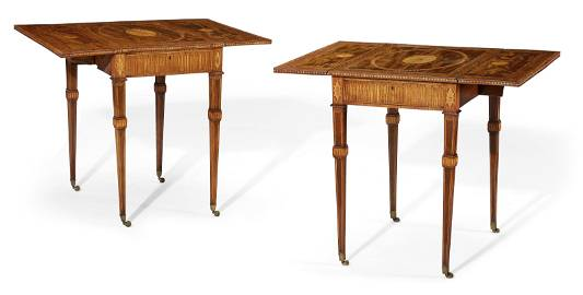 A PAIR OF GEORGE III MAHOGANY, TULIPWOOD BANDED AND