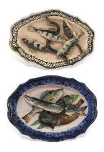 TWO FRENCH FAIENCE (SCHOOL OF TOURS) PALISSY STYLE