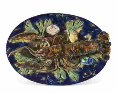 A FRENCH PALISSY STYLE MAJOLICA TROMPE L'OEIL OVAL