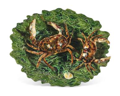 A FRENCH PALISSY STYLE TROMPE L'OEIL OVAL DISH