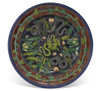 A CONTINENTAL PALISSY STYLE TROMPE L'OEIL FAIENCE