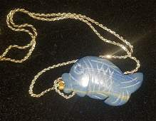 Sterling Silver Necklace With a Blue Fish Pendant!