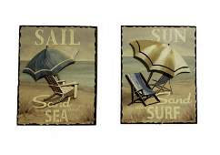 Pair 3d Wooden Wall Art Pictures!