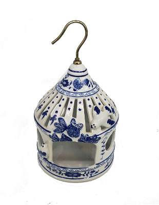 Vintage Formalities Blue And White Birds Cage