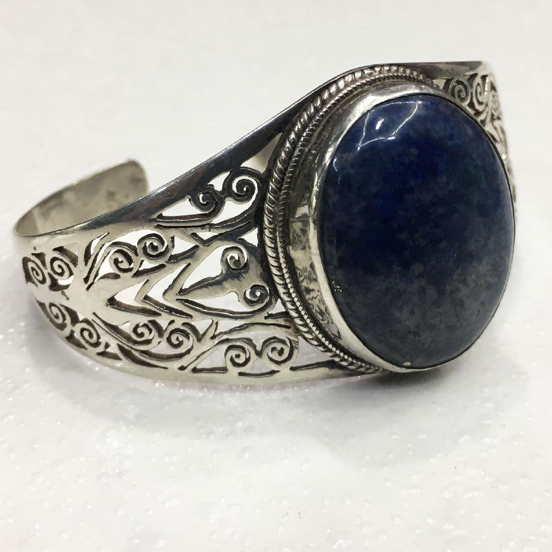 925 Sterling Silver Hand Carved Lapis Bangle