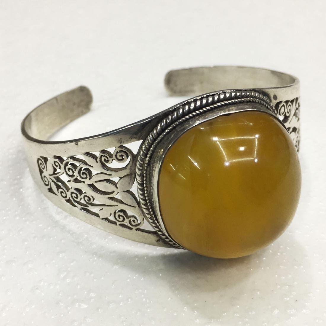 925 Sterling Silver Hand Carved Amber Bangle