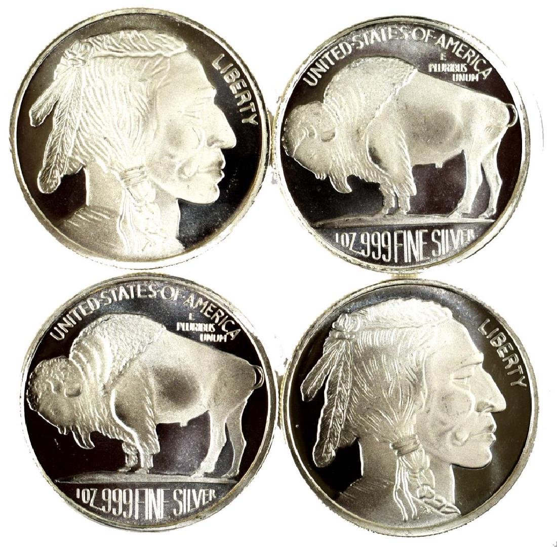 Four .999 Pure Silver 1 Ounce Rounds Buffalo Head