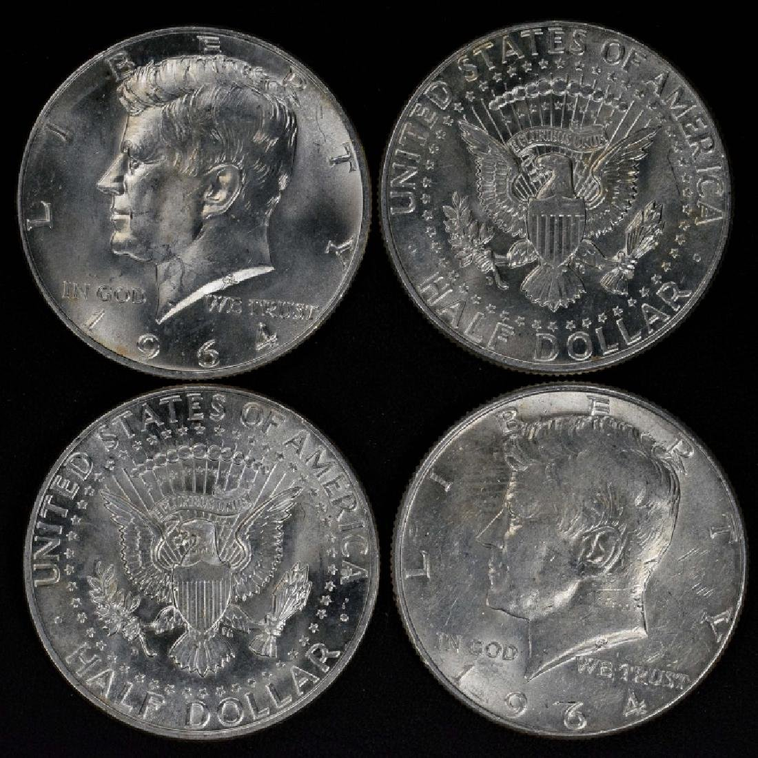 Four 1964 Kennedy Half Dollars 90% Silver