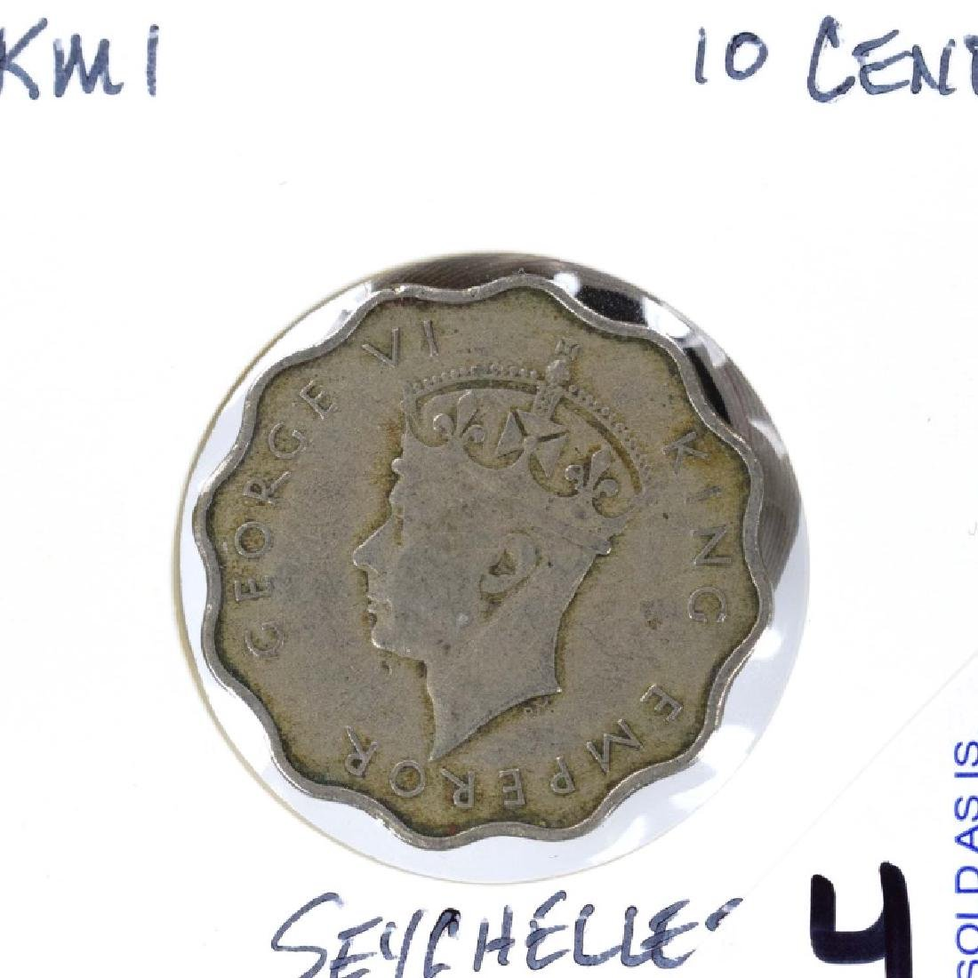 1939 Seychelles 10 Cents (KM#1) Seychelles 10 Cent Coin