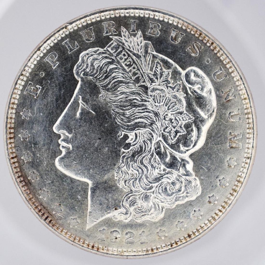1921 Morgan Silver Dollar Bad Press on lower Obverse
