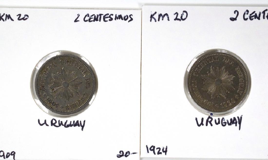 3 Uruguay Coins (1909 - 1954, incl silver) 1924 2