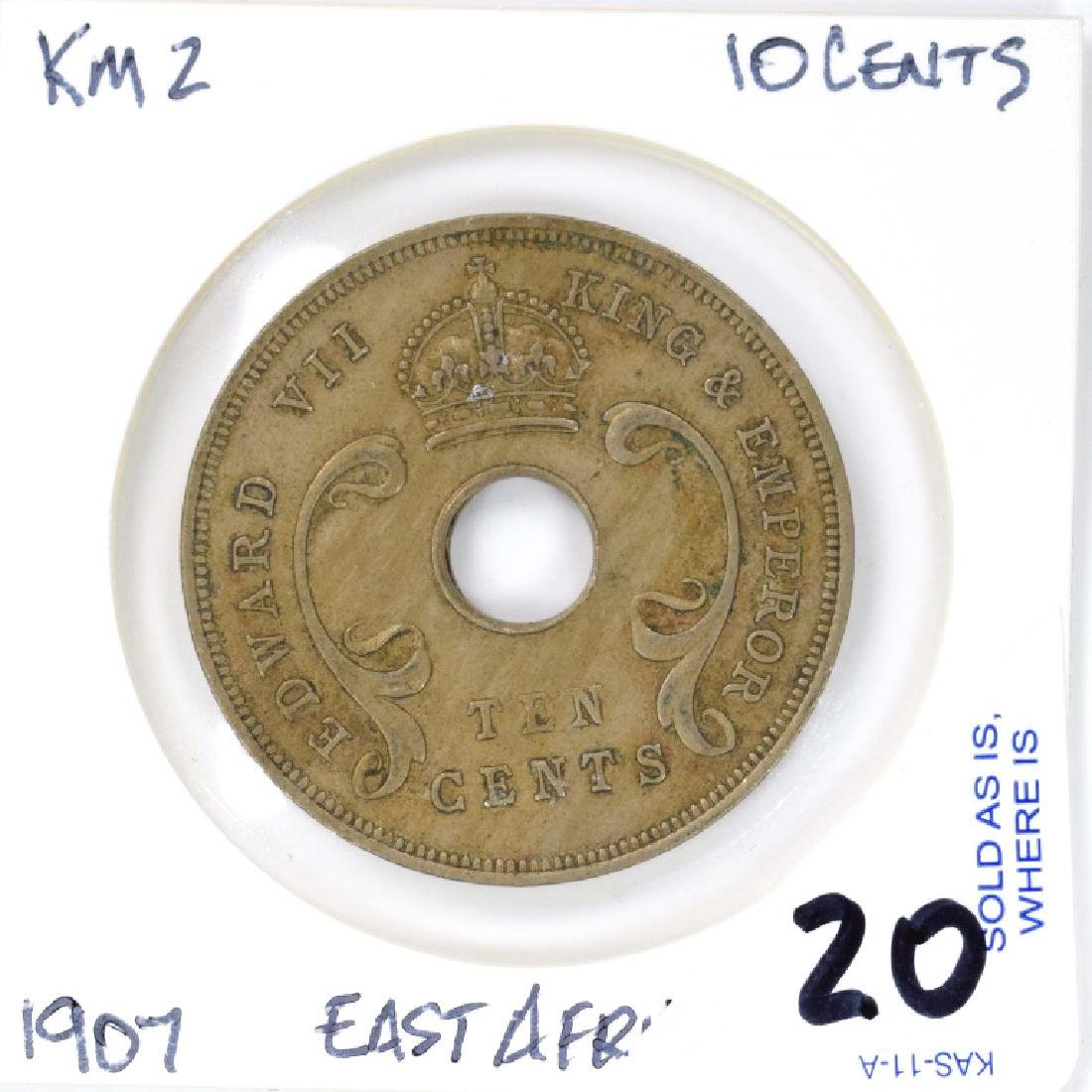1907 East African 10 Cent Coin (KM#2) East Africa &