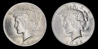 1922 d & 1922 Peace Silver Dollars