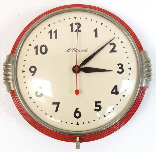 D.B. McClintock Art Deco Red Kitchen Clock
