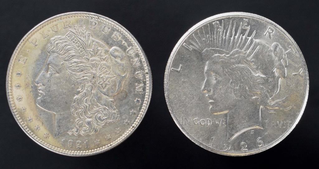 1921 Morgan & 1926 Peace silver dollars