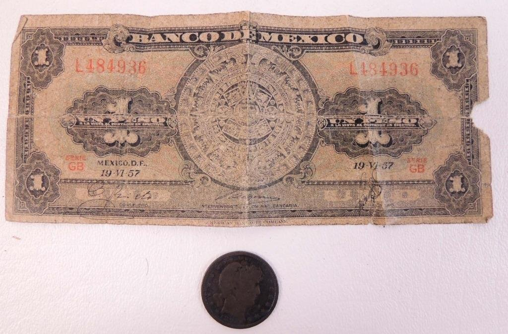Mexican banknote & US coin