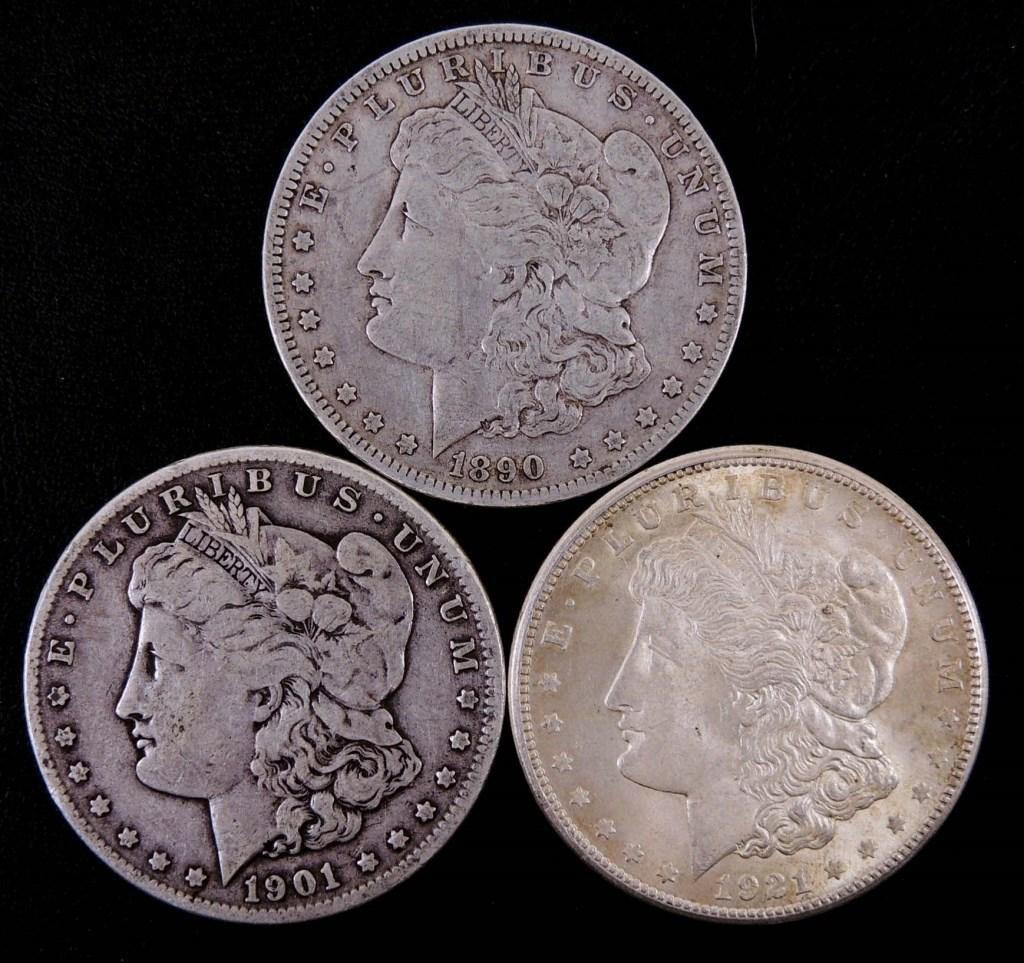 Morgan silver dollars (3)