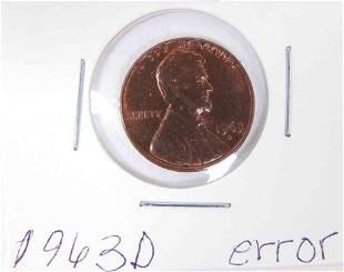 1963d Lincoln penny DD OBV ERROR