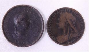 1806 and 1900 Great Britain pennies 2