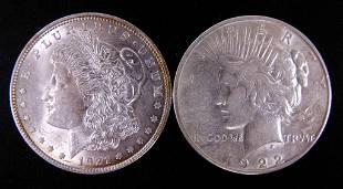 1921 Morgan 1922d Peace silver dollars 2