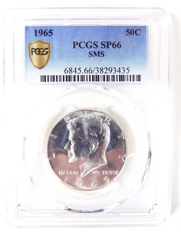 1965 SMS Kennedy Silver Half Dollar PCGS SP66