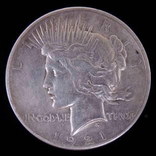 1921 Peace silver dollar KEY DATE