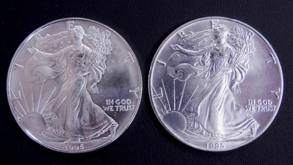 1995 BU silver eagle bullion coins (2)