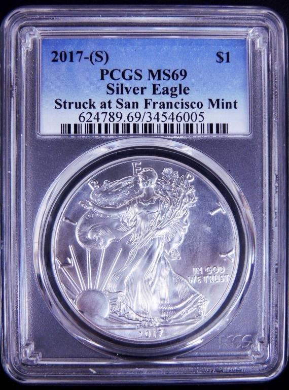 2017 - s Silver Eagle PCGS MS69