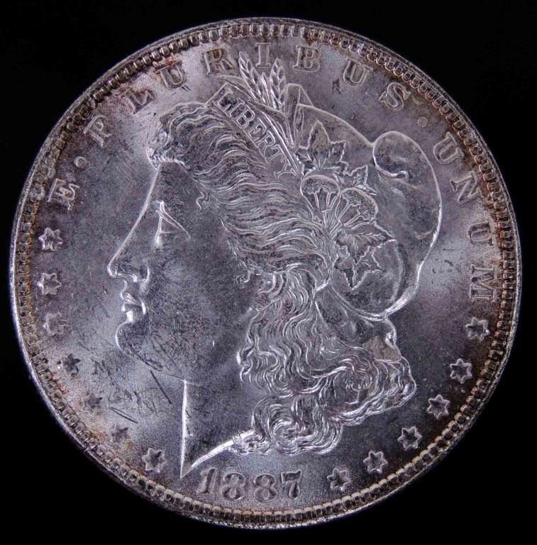 1887 Morgan silver dollar