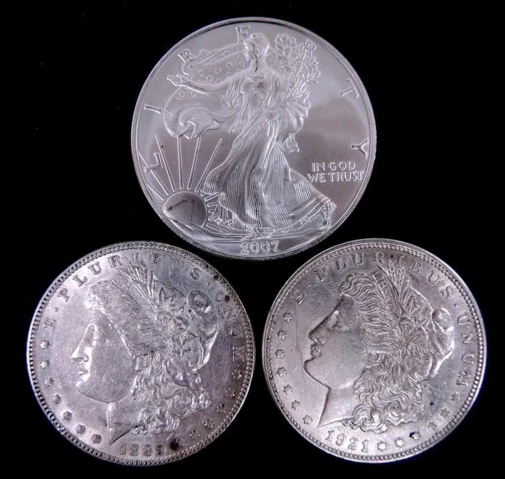 2 Morgan Silver Dollars & 07 BU Silver Eagle