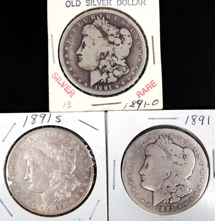 3 Morgan Silver Dollars