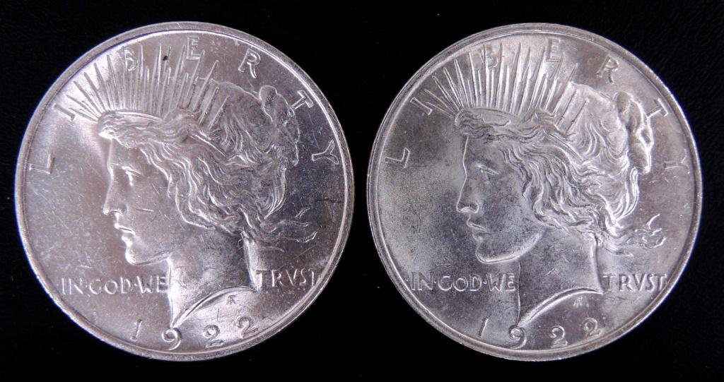 Two 1922 Peace Silver Dollars